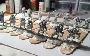 Now Ready for Base Coat - Note Figures Rough Detail