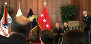 LTG H.R. McMaster and Chaplain Hurley at the beginning of the ceremony