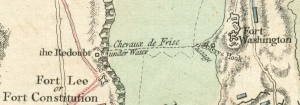 1777 map detail showing the chevaux-de-frise between Fort Lee and Fort Washington