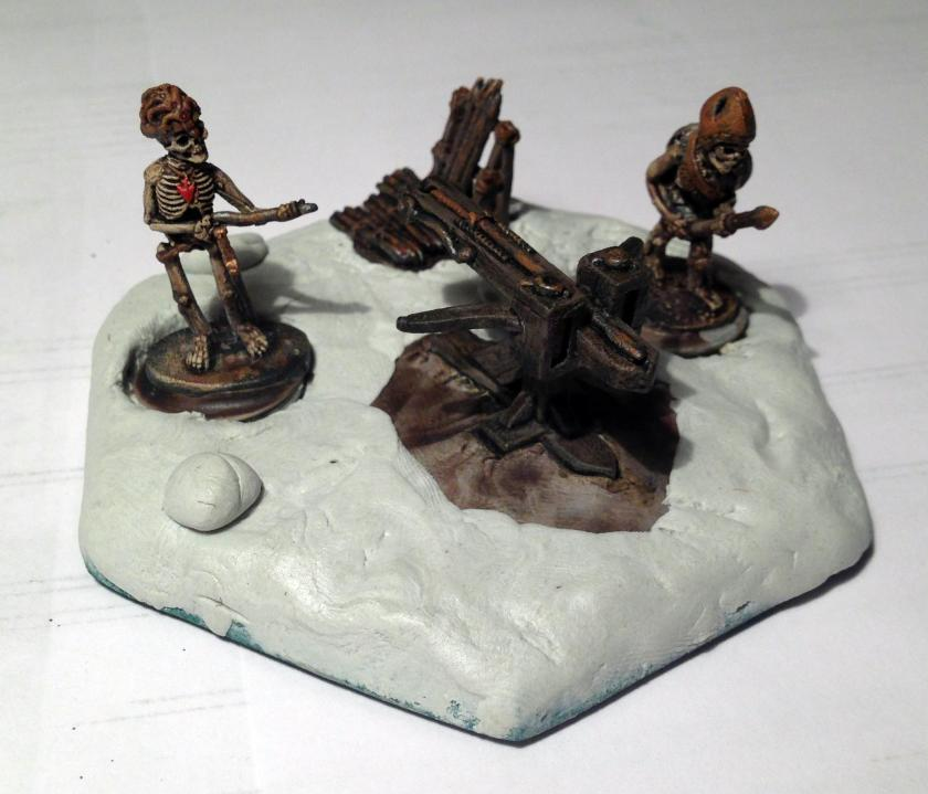 10 skeleton bolt thrower base with magnets after apoxie sculpt
