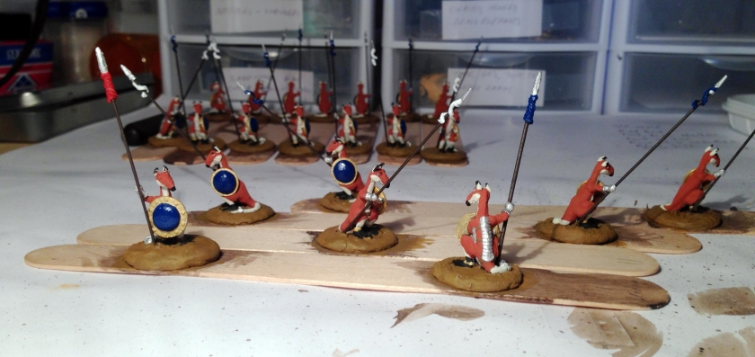 11 Roomans base coated shields with blue