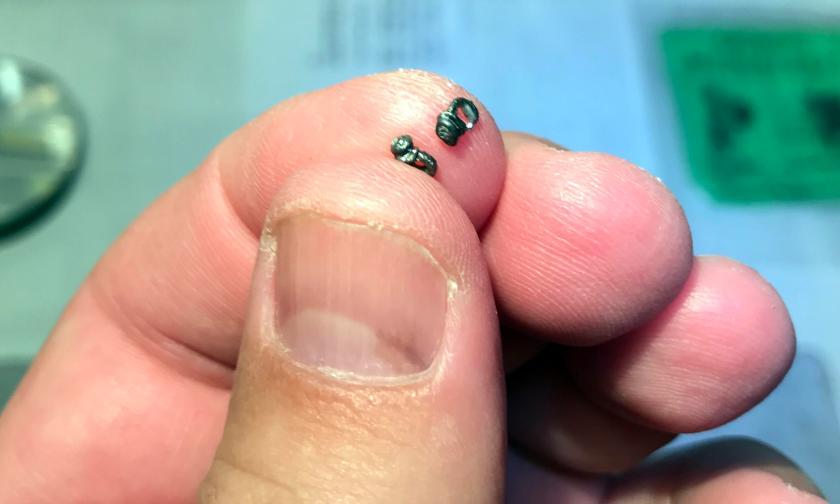 4 bridle bits on fingertips