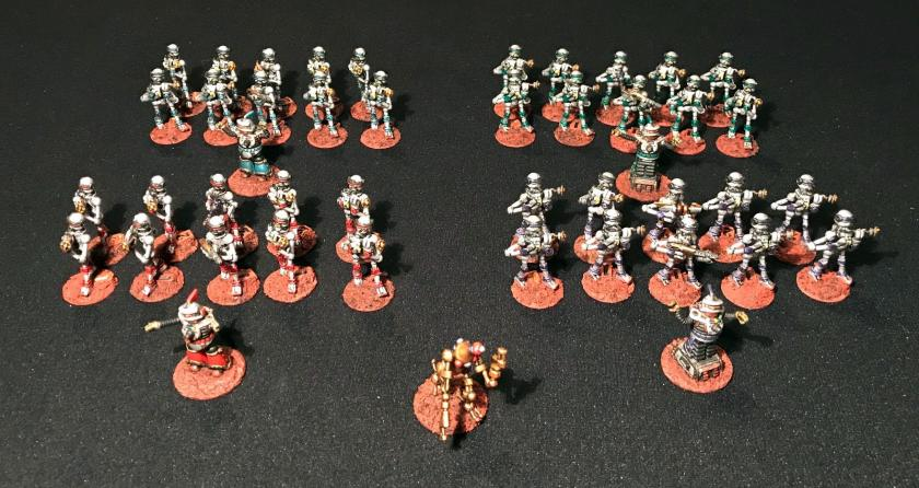 40 Assembled Mark III Warbot Platoon, front view