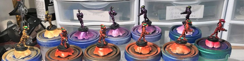7 Advancing Robots Mega Minis DEAL 0372 in progress painted less bases