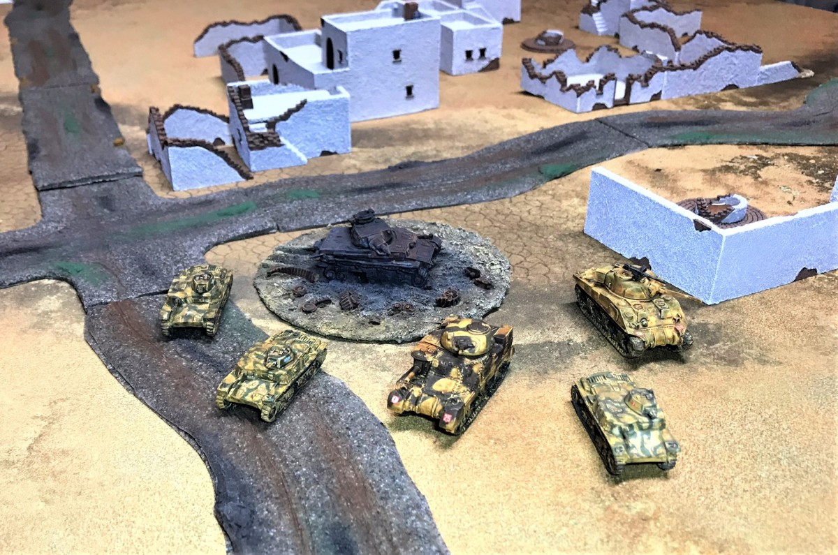 M11/39 Italian Tanks (and some US Steel for the 8th Army  – a Grant and a Sherman), plus an Aussie! For What a Tanker