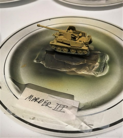 Marder III base coated. This tank destroyer was ubiqutous, and I have several others to build for other theaters.