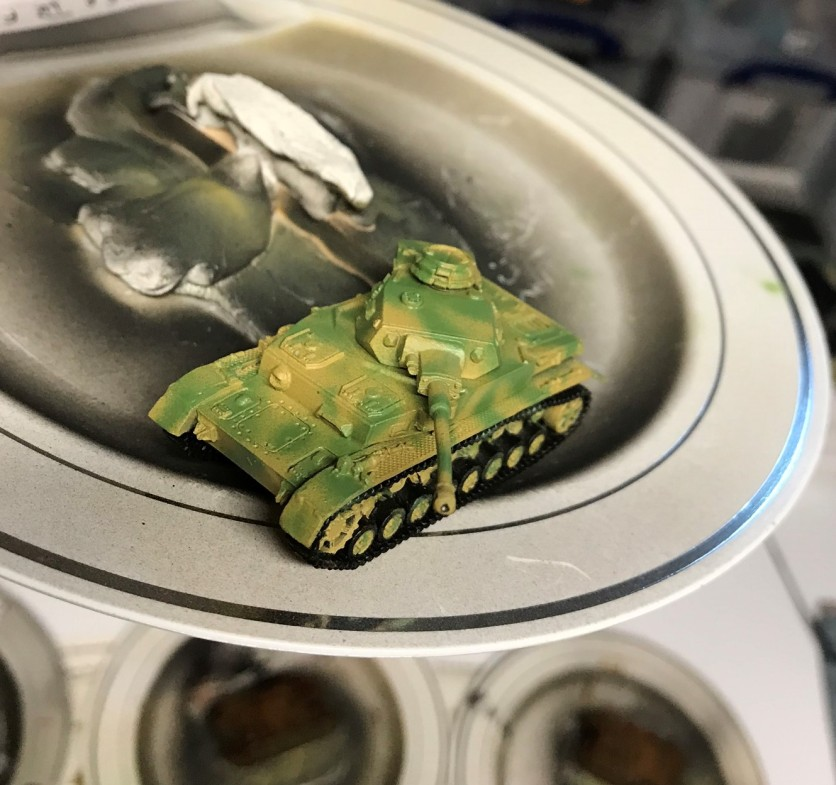 The Panzer IVF2 with its two-toned yellow and green camouflage pattern.