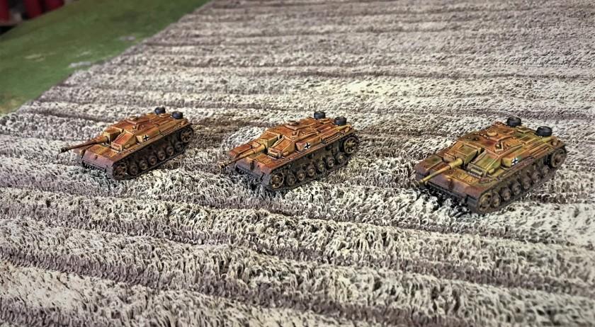4 StuG F8's in wheat field
