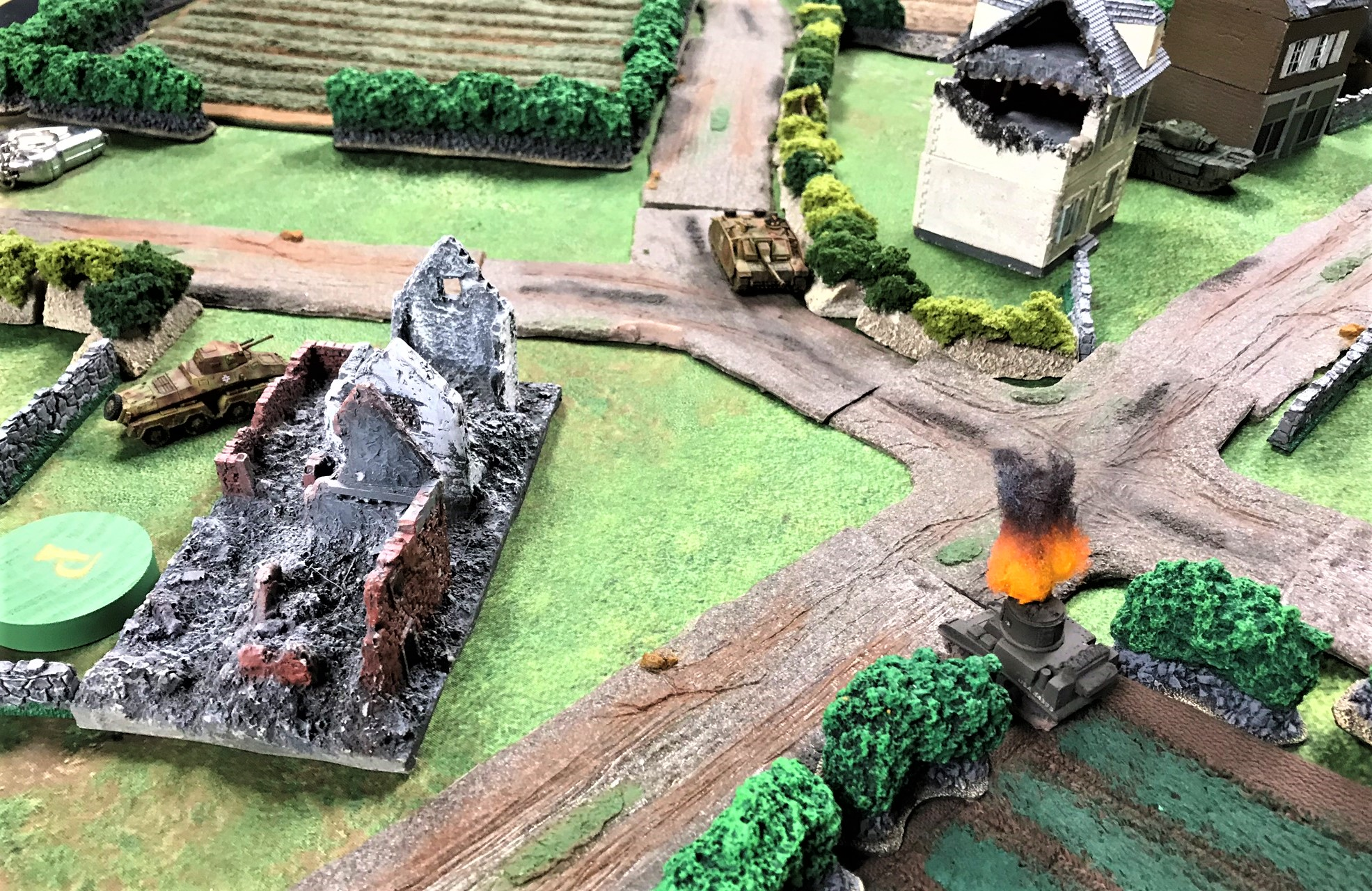3 StuG IIIG takes out M5, while Churchill moves around Panther
