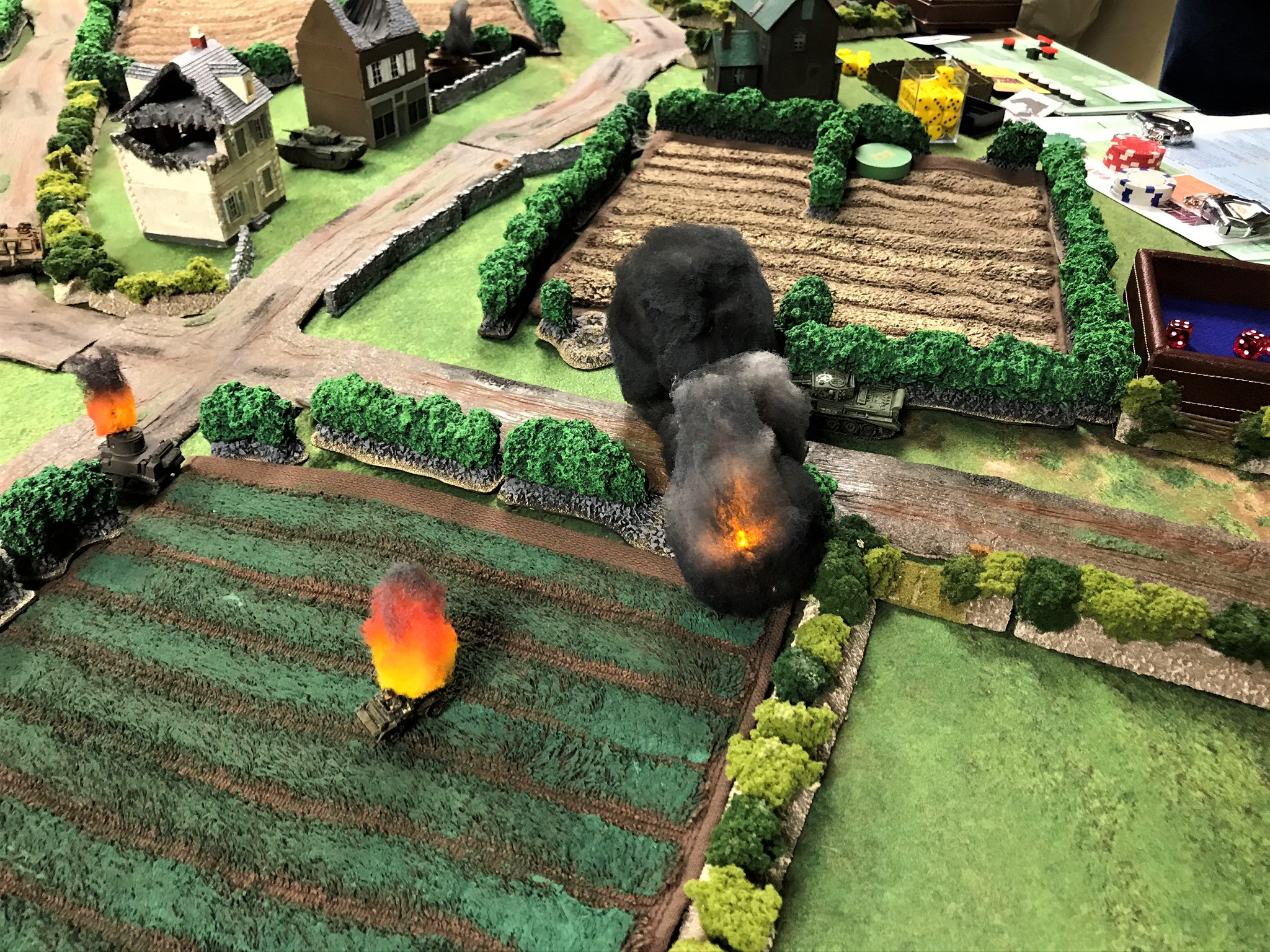4 StuG IIIG takes out Dingo, while Churchill moves around Panther