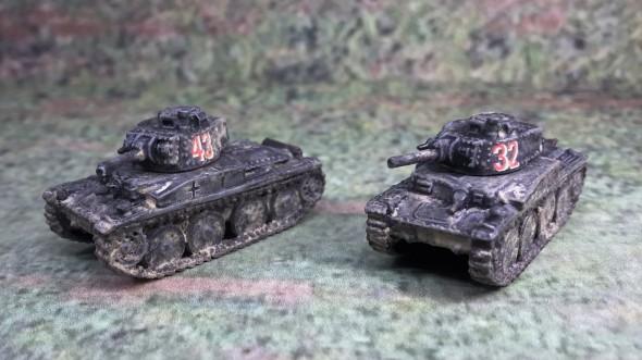 Both Panzer 38(t) models, front left side.