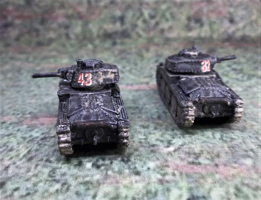 Both Panzer 38(t) models, rear view.